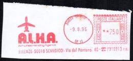 ITALIA FIRENZE SCANDICCI 1996 - METER / EMA  A.L.H.A. AIR LINES HANDLING AGENTS - SMALL FRAGMENT - Fabbriche E Imprese