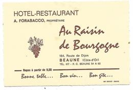 CARTE PUB PUBLICITAIRE HOTEL RESTAURANT AU RAISIN DE BOURGOGNE, BEAUNE, COTE D'OR 21 - Publicité