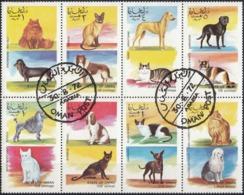 STATE OF OMAN - 1972 - CINDERELLA - Minifoglio Formato Da 8 Valori Rappresentanti Cani E Gatti. - Oman