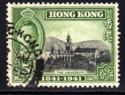 Hong Kong 1941 KGV1 5ct Black & Green University Used SG 165 ( J1393 ) - Hong Kong (...-1997)