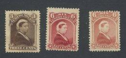 3x Newfoundland Mint Victoria Stamps No.35-6c MH #36-6c MH #52-MNG CV = $65.00 - 1865-1902