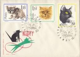 POLONIA - 1964 - Lotto Di 4 Buste Primo Giorno Su Cui Sono Applicati 10 Valori: Yvert 1332/1341 (serie Completa) - FDC