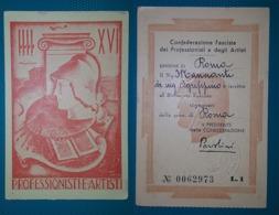 Tessera Confederazione Fascista Dei Professionisti E Degli Artisti - (Roma). - Historische Dokumente