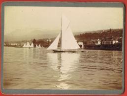 Photo De GENEVE- Voiliers  Et Bords Du Lac - Sur Carton- Format 12 X 9 Cm-Trés Bon état- Paypal Free - Antiche (ante 1900)