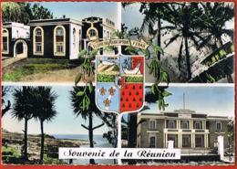 Souvenir De La REUNION- Cpsm Multivues - Blason-  Voyagée 1958-Edit H.Ganowski-ST Joseph--scans Recto Verso- - La Réunion