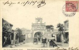 HANOI Piere Tonkinoise Rue Jean Dupuis HANOI + Beau Timbre 10c Surchargé Indochine RV - Vietnam