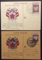 CM063(2) Journée Du Timbre Renouard 668 Rennes Paris 9/12/1944 Lot 2 Carte Maximum - Maximum Cards
