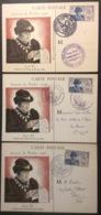 CM075 Journée Du Timbre Louis XI 743 Carcassonne Le Havre Paris 13/10/1945 Lot 3 Carte Maximum - Maximum Cards
