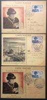 CM075(3) Journée Du Timbre Louis XI 743 Lyon Le Havre Paris 13/10/1945 Lot 3 Carte Maximum - Maximum Cards