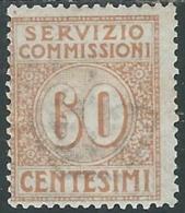 1913 REGNO SERVIZIO COMMISSIONI 60 CENT MH * - RB30-9 - 1900-44 Victor Emmanuel III