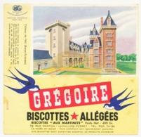 Buvard 16.6 X 16.1 Biscottes Allégées GREGOIRE Château De Pau Basses-Pyrénées Poids Net : 400 Gr. - Biscottes