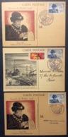 CM075(4) Journée Du Timbre Louis XI 743 Angers Le Havre + Vignette Le Havre 13/10/1945 Lot 3 Carte Maximum - Maximum Cards