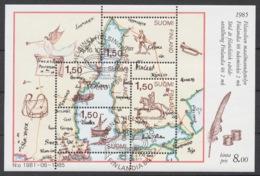 Finland 1985 Mi# Bl.1 (CTO) POSTAL MAP, FINLANDIA 88 STAMP EXHIBITION - Finland