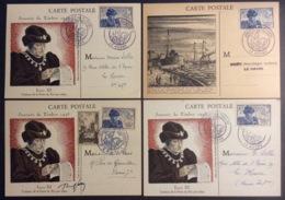 CM075(5)Journée Du Timbre Louis XI 743 Le Havre Paris 742 13/10/1945 Lot 4 Carte Maximum - Maximum Cards
