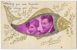 1er Avril Poisson D' Avril Carpe Photo Montage Couple Paillette Dorure Editions FPCL Carte Toilée - 1er Avril - Poisson D'avril