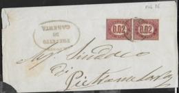 STORIA POSTALE REGNO - FASCETTA AFFRANCATA CON SERVIZIO DI STATO COPPIA CENT 0,02 - FEB.1876 - Dienstpost