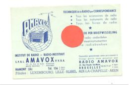 "Buvard ( Format Carte Postale ) "" AMAVOX "" Institut De Radio, Technique De Radio - Hamont, Bruxelles,...(b268) - Buvards, Protège-cahiers Illustrés"
