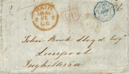 1856- Lettre De Napoli Pour Liverpool   P.D. Encadré + D.SICILES S.E. / MARSEILLE - Storia Postale
