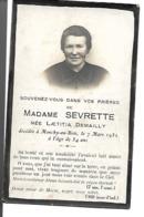 Carte Décès Monchy-au-Bois 1932 Madame Sevrette Née Demailly. - Vieux Papiers