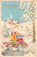 """09695 """"BUON NATALE"""" BAMBINI, PONTE SU TORRENTE, UCCELLINI. CART SPED 1958 - Altri"""