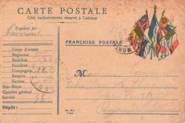 Carte Correspondance Franchise Militaire Cachet 1917 Secteur Postal 58 Expédiée Par Taveront 22e Compagnie - Marcophilie (Lettres)