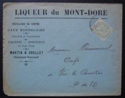 1901 Liqueur Du Mont - Dore Distillerie Liqueurs Spiritueux Vins Fins Martin & Grellet Clermont Ferrand - Postmark Collection (Covers)