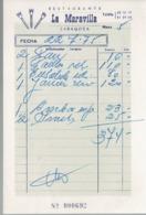 Factura Vieja Del Restaurante La Maravilla, Zaragoza (22/7/1975) - Espagne