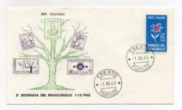 Italia - 1963 - Busta FDC Filagrano - 5^ Giornata Del Francobollo - Con Doppio Annullo Trento - (FDC18204) - Giornata Del Francobollo