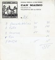 Factura Vieja Del Restaurante Can Maimo Cuina Tipica A Ple Bosc, Vilanova De La Roca (1973) - Espagne