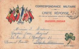 Carte Correspondance Franchise Militaire Cachet Decembre 1914 Soldat Gaydier 1er Colonial 4e Bataillon Trefle 4 Feuilles - Marcophilie (Lettres)