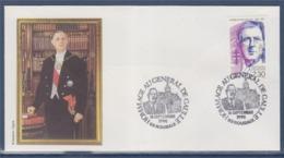 = Hommage Au Général De Gaulle Enveloppe 59 Roubaix 16.9.90 N°2634 Portrait - De Gaulle (Generale)