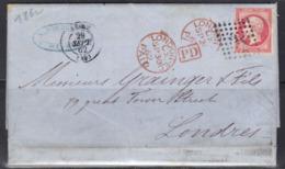 Reims (Marne) : LAC Pour Londres, Napoléon N°17B, 1862. - Marcofilia (sobres)