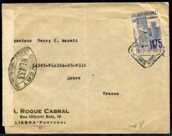 PORTUGAL - N° 615 / LETTRE DE LISBOA LE 5/2/1941 POUR L'ISERE AVEC CENSURE - TB - 1910-... République
