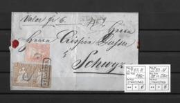 1854-1862 Helvetia (ungezähnt) → 1857 Valoren-Brief Stansstad Via Stans Nach Schwyz   ►SBK-24B3.III & 22B3.IV◄ - 1854-1862 Helvetia (Non-dentelés)