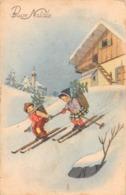 """09707 """"BUON NATALE"""" BAMBINI, GERLE, DISCESA CON GLI SCI.  CART SPED 1952 - Altri"""