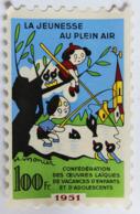Grand Timbre La Jeunesse Au Plein Air Illustrateur H. Monier Enfants Péchant 100F érinnophilie 1951 - Erinnophilie