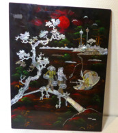 Panneau En Laque De Chine Paysage Et Pecheurs - Art Asiatique