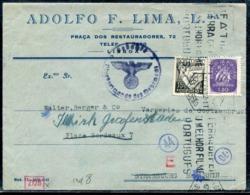 PORTUGAL - N° 533 + 631 / LETTRE AVEC O.M. DE LISBOA LE 17/7/1943 POUR STRASBOURG AVEC CENSURE - TB - 1910-... République