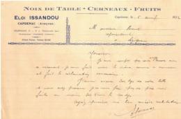 EN 1932 CAPDENAC AVEYRON ISSANDOU NOIX CERNEAUX FRUITS FACTURE PUBLICITAIRE ILLUSTREE DOCUMENT COMMERCIAL LEZIGNAN - France
