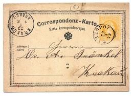 Ganzsache österreichisch Polen, Galizien, Tarnopol 1872 Nach Krakau - Ganzsachen