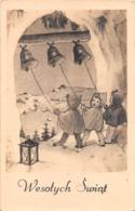 """09718 """"BUON NATALE - WESOTYCH SWIAT"""" BAMBINI, LANTERNA, CAMPANE.  CART   SPED 1950 - Altri"""