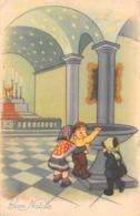 """09719 """"BUON NATALE"""" BAMBINI IN CHIESA, CANDELE, ACQUASANTIERA.  CART   SPED 1950 - Natale"""