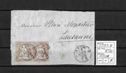 1854-1862 Helvetia (ungezähnt) → 1858 Brief-Fragment NYON Nach LAUSANNE  ►SBK-22B3.III / 2 Einzelmarken Guter Schnitt◄ - Lettres & Documents