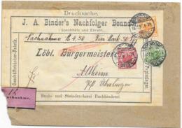 DR Brief Drucksache Krone/Adler Mif. Nachnahme Mi.46,47,49 Bonndorf Baden 1897 - Deutschland