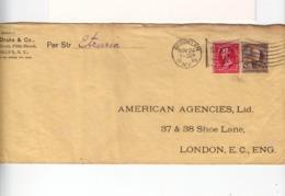 Sur Enveloppe Pour Londre CAD Brooklyn N.Y. Nov 1899 Et Cachet Drapeau Station W Sur N° 76 YT Brun Et 2 C. Rose. (2616x) - Marcophilie