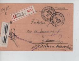 CBPN41/ CP Recommandée De Service En Franchise C.Kortrijk 13/9/23 > Mouscron C.d'arrivée étiq.décédé  Retour Courtrai - Storia Postale