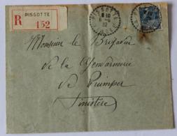 Enveloppe Courrier Recommandé De Pissotte 1932 Brigadier De La Gendarmerie De Quimper - Polizia