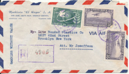 Costa Rica Registered Air Mail Cover Sent To USA 1954 The Cover Is Damaged On The Backside - Costa Rica