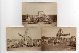 LOT DE 3 PHOTOS 6 X 9. DECHARGEMENT D'UN CANON ET REMONTAGE SUR UN WAGON. CONFLIT 14/18 - Guerre, Militaire