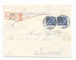 DR Brief Krone/Adler Mef. Mi.48 Paar Reco Rheydt Eingeschrieben 1895 Nach Eisenach - Lettres & Documents